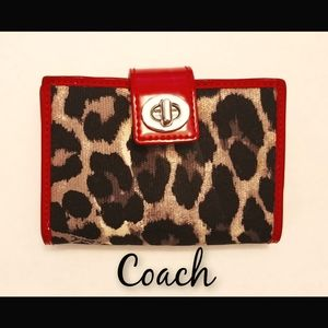 EUC Coach Patent Leather and Leopard Print Wallet